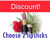 Discount - Natural liptint - Tinted lip balm - Choose your colors - set of 2 Deluxe tube - Organic - Mineral lipstick - Lip colour