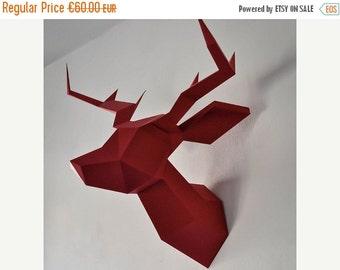 SOLDES/ON SALE Dark Red Foldeer - Deer Head Papertoy