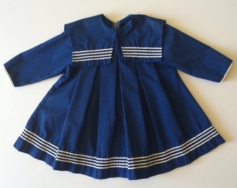 Vintage Fall Navy Sailor Dress (4t)
