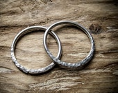 Hammered Hoop Earrings for Gauged Ears. 6g Threaders.  Nahusha Tribal Hoops