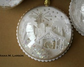Hand made Nativity Snow Globe ornament   Pure white with gold. See other listing for a custom snow globe-  made to order.