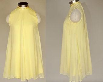 Swing Party Dress | vintage 60s sunny yellow mini dress | sleeveless, chiffon xs/s