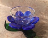 RESERVED 4 DONNA-Blue Flower Glass Murano Vase