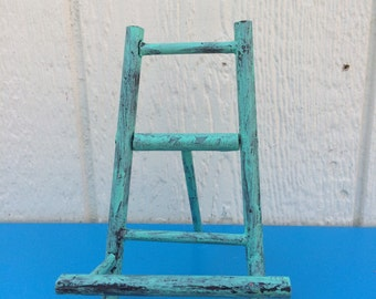 Blue Wooden Display, Small Picture Frame Holder, Office Decor,