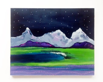 Mountain painting, wilderness art, small acrylic painting, original art