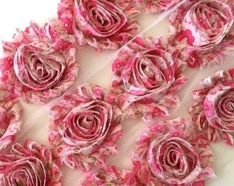 "Pink floral Shabby Trim 2.5"" Shabby Flowers Shabby Chiffon Flowers - Printed Shabby Chic Trim Wholesale Rosette trim 6cm 1 yard"