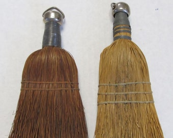 Vintage Whisk Broom Duo - Hand Brooms - Country, Rustic, Cottage, Display