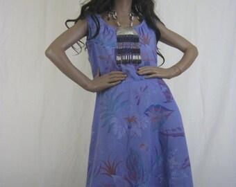 on sale Vintage Summer Dress, 80s Dress, Boho CLothing, 1980s Dress, Safari Style, Sleeveless Dress, Tropical