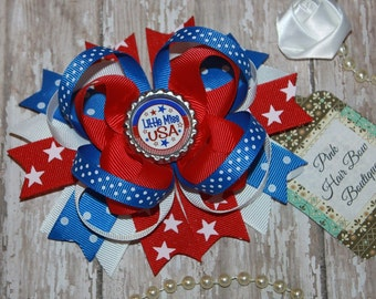 4th of July hair bow ,  patriotic hair bow , red white and blue , 5 inch hair bow , memorial day hair bow , usa hair bow