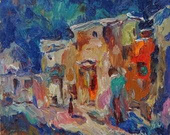 Ancient Bukhara, Middle Asia, 1992, original oil painting on cardboard 16cm x 19cm by russian artist