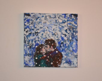 Couple Kissing in a snow Romantic Acrylic Painting great Valentine's Day gift