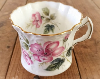 Hammersley Bone China Tea Cup / Pink Peony Floral Gold Leaf / Made in England / Hand Numbered