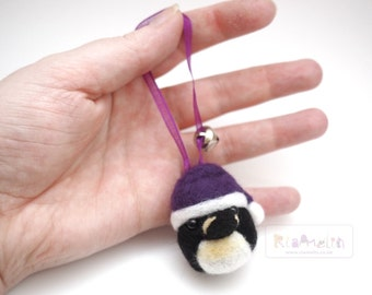 Needle Felted Animal, Christmas Penguin Ornament.