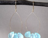Aqua Chalcedony Briolette Gold Earrings - Gold Earrings - Gemstone Earrings