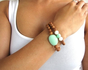 Stacking Beaded Bracelet Set with Aqua and White Resin Accents