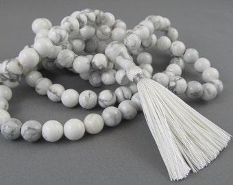 8mm white howlite 108 beads buddhist mala - hippie necklace - wrap bracelet - yoga jewelry
