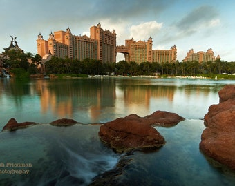 Atlantis Royal Towers and Reflection, Bahamas, Fine Art Photography, Morning Light, Water, Resort, Landscape photograph, Travel, Art Print
