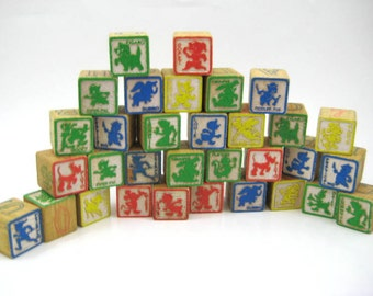 Vintage Disney Wood Blocks, Disney Characters - Mickey Mouse, Minnie, Donald Duck, Bambi, Flower, Thumper, Dumbo - Lot of 32 Blocks