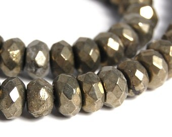 8x5mm Faceted Pyrite Rondelle Beads -15.5 inch strand