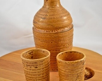 ON SALE Japanese Pottery Sake / Saki Set, Okinawa 1968