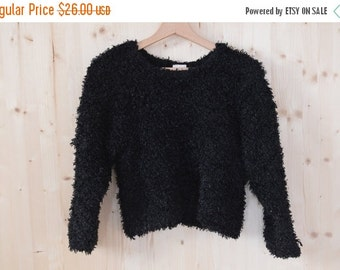 SALE Black Fuzzy Sweater Blouse Vintage 90s goth sweater crop sweater grunge