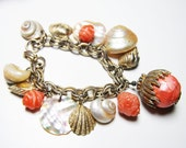 Sea Shell Charm Bracelet - Bold & Charming Statement Bracelet with Coral or Pumpkin Beads