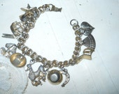 Vintage 1950's Charm Bracelet With 12 Charms Selling Charms For Jewelry Supplies Broken Clasp Vintage Charms Doll Supplies