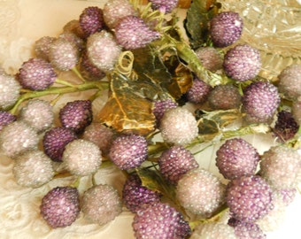 Vintage Faux Sugared Grape Clusters 3 Large Grape Clusters Bowl Filler Wreath Ornaments Christmas Tree Ornaments Grape Stems Leaves Tendrils