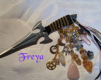 Freya  Embellished Athame - Several Blade Styles/Sizes - Amber, Rose Quartz, Moonstone
