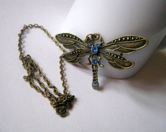 Dragonfly with Vintage Shappire Swarovski Rhinestones on a Antique Bronze Tone Necklace