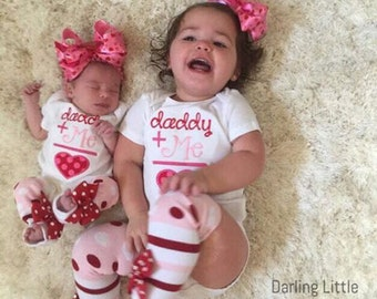 Girl Valentine Outfit - Baby Girl Valentine - Daddy's Girl - pink and red applique bodysuit, leg warmers, bow