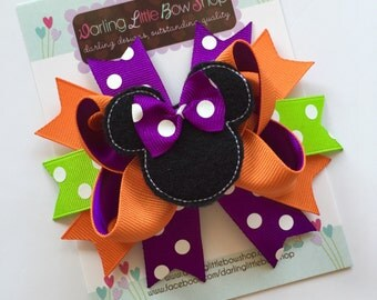 Miss Mouse Bow - Halloween Miss Mouse Bow in purple, lime green and orange - Darling Little Bow Shop