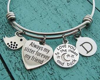 sister bracelet, sister gift, sister jewelry, love you to the moon and back, always my sister, birthday gift sister, wedding gift for sister