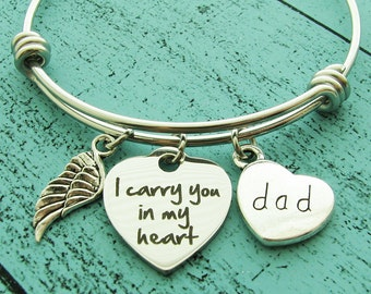 loss of father memorial gift dad, sympathy gift father, I carry you in my heart memorial bracelet, in loving memory dad, remembrance jewelry