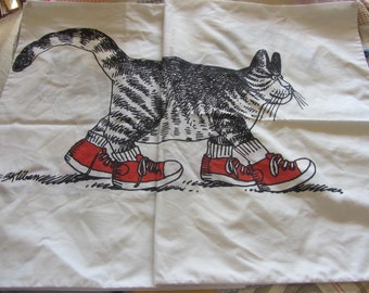 70s Kliban Cat Pillow Case Pair Pillow Cases White Black Red Standard