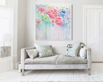 ORIGINAL Abstract Painting LARGE Art Home Decor Wall Art Blue Pink Flowers Peonies White Green Textured Palette Knife XL Christine Krainock
