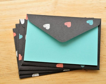 Colorful Heart Mini Cards // Set of 4 // Blank Cards // Enclosure Cards // Gift Card Envelopes // Love Note // Scrapbooking // Journaling