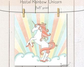 "Pastel Unicorn 8x8"" print/ wall decor/ poster/ original artwork/ print"