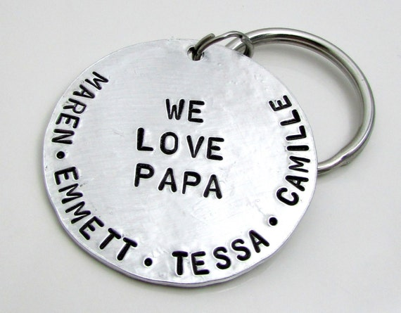 Personalized Key Chain - Dad Keychain - Stamped Key Chain - Personalized Father's Day Gift - Personalized Keychain - Gift under 50