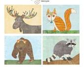 Woodland Creatures Nursery Decor for Boy Room Girl Room Fox Art Raccoon Art Bear Art Moose Art Print Hand-Drawn Colorful Wall Art Lily Cole