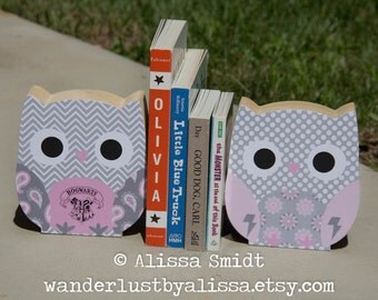 Harry Potter Owl Bookends - Custom Created to Coordinate with Your Decor or Nursery Letters - pink, grey, paisley