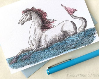 Hippocampus Note Cards, Set of 8, Merhorse, Mermaid Horse, Gift for Horse Lovers