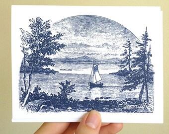 Sailboat Note cards, Gaff Rigged Sailboat Note Cards, Sailboat Stationery, Nautical gift, Sailing Gift, Nautical Stationery, Blank Card Set