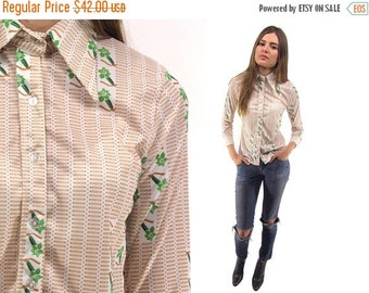 On Sale - Vintage 70s Fitted Jersey Shirt, Floral Top, Pointy Collar Blouse, Boho, Hippie ΔΔ xs / sm