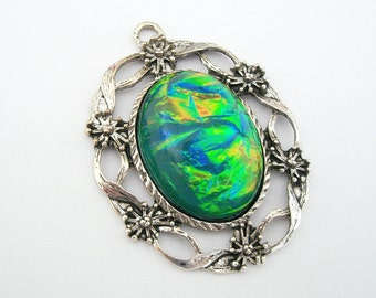 Vintage Style Green Opal Cabochon in Antiq Silver Filigree Charm Pendant 40x33mm.