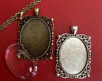 2 KITS Oval Vintage Necklaces ( 30mm x 40mm  inside ) Includes 2 pendants, 2 crystal clear domed glass and 2 matching necklaces