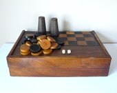 Early XXth Backgammon and Checker Set Antique french chess and checkers game
