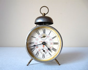1900  french Antique Alarm Clock , Metal Bell Alarm Clock, French Vintage alarm clock of the 19th  ,Loft Deco, Victorian