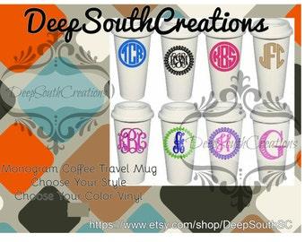 Monogram Coffee Travel Mugs