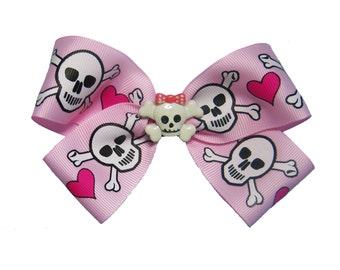 Large Pink Punk Skull Crossbones Heart Pirate Hair Bow